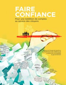 Image de la couverture du rapport de Jean Perrault sur la question de la simplification de la reddition de comptes