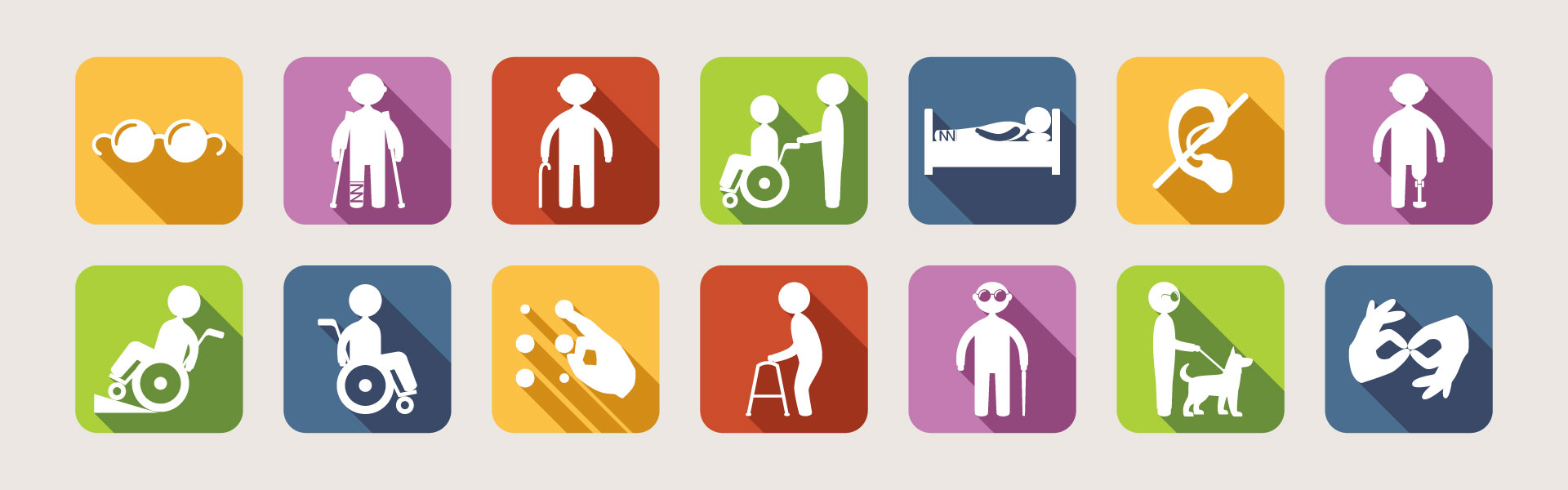 Pictogrammes montrant divers types de handicaps